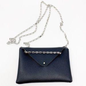 Black faux leather mini crossbody bag Silver chain